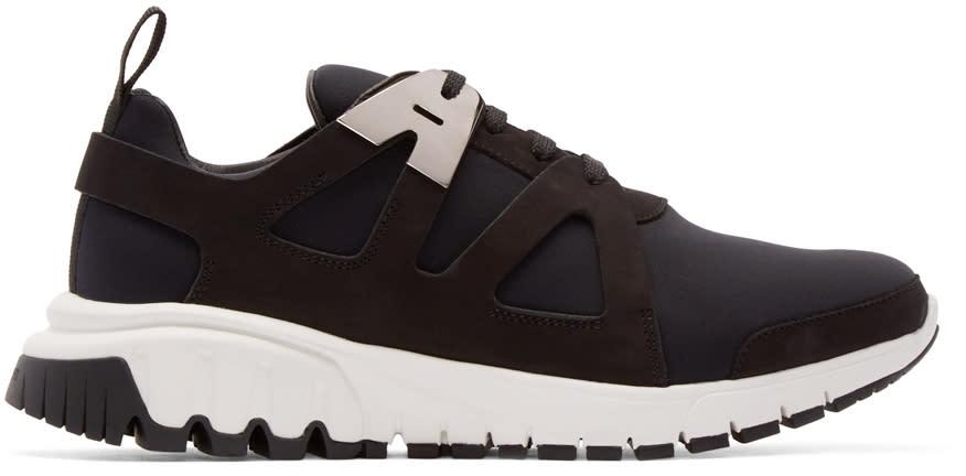Neil Barrett Black Neoprene Molecular Sneakers
