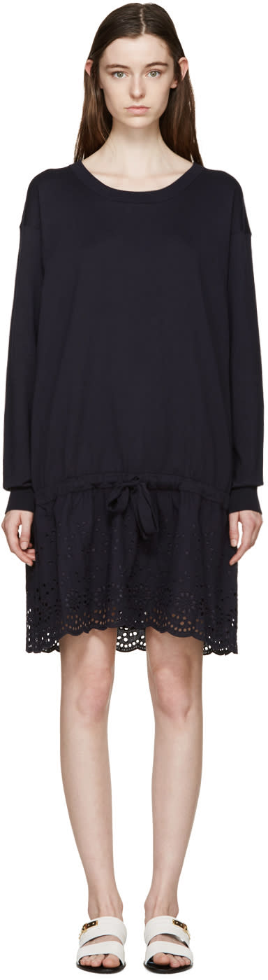 See By Chloé Navy Broderie Anglaise Knit Dress
