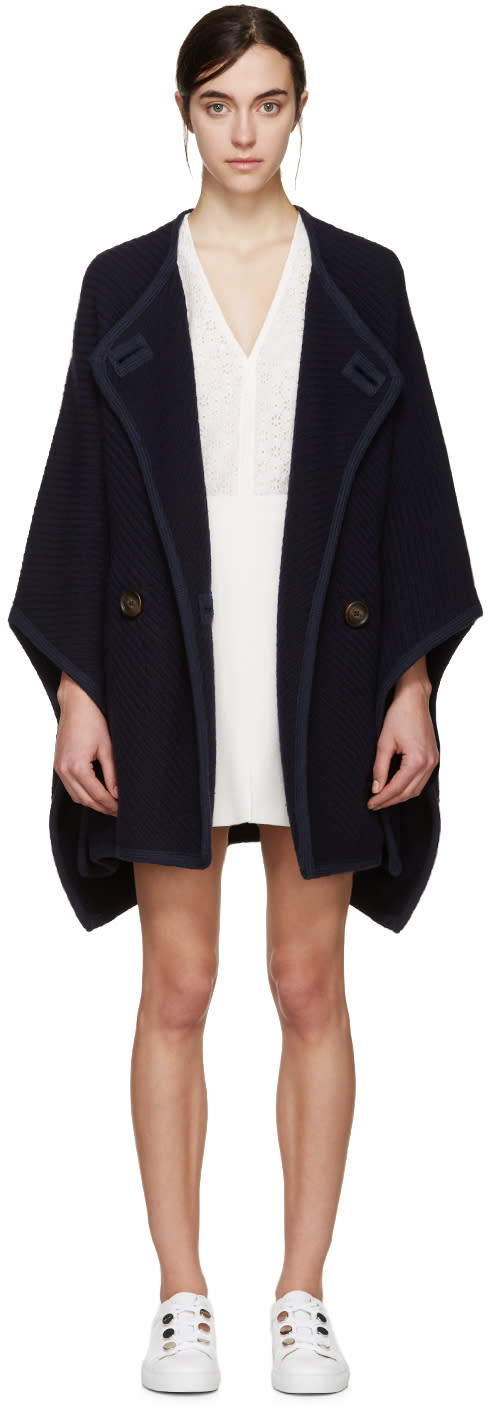 See By Chloé Navy Wool Cape Coat