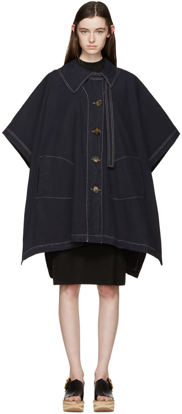 See By Chloé Navy Oversized Cape Coat