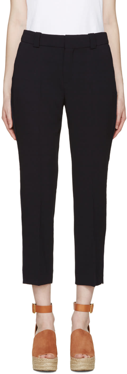 See By Chloe Navy Crepe Slim Trousers