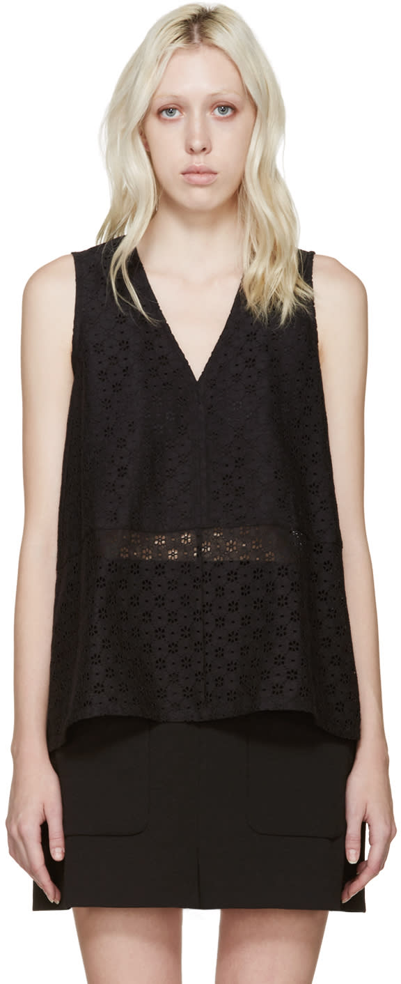 See By Chloé Black Lace Trapeze Top
