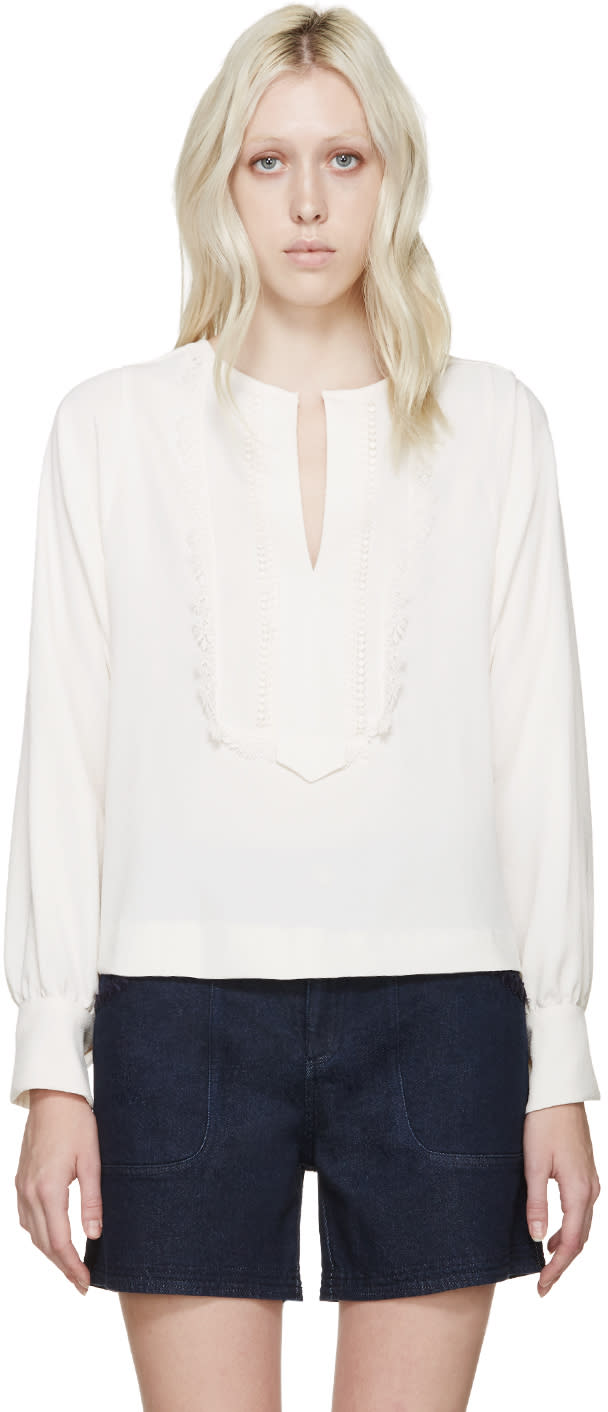 See By Chloé Off-white Lace Trim Blouse