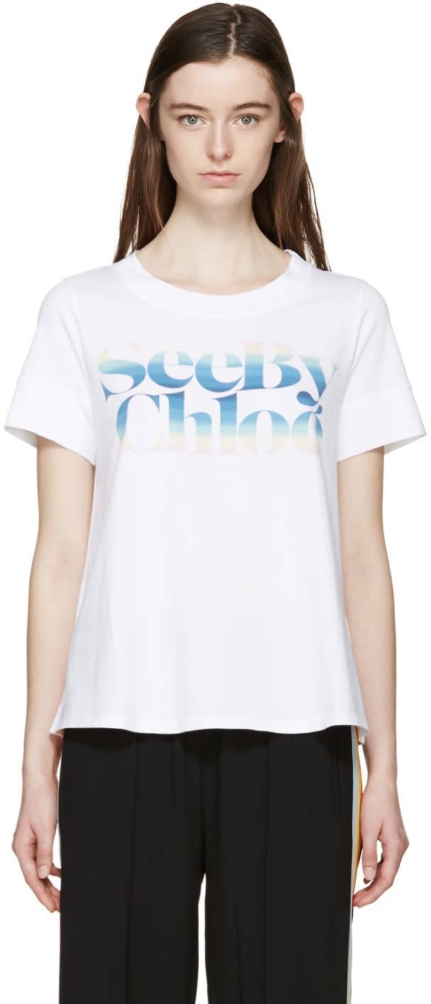 See By Chloé White Rainbow Logo T-shirt