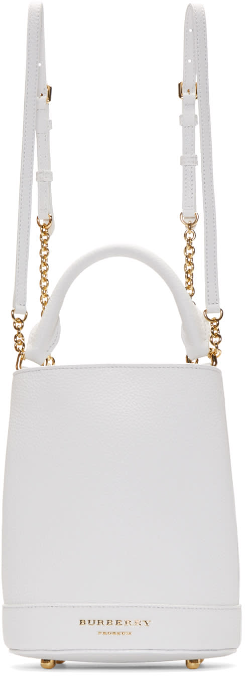 Burberry Prorsum White Leather Small Bucket Bag