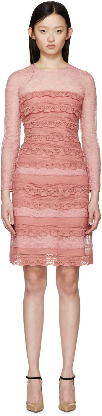 Image of Burberry Prorsum Pink Tiered French Lace Dress