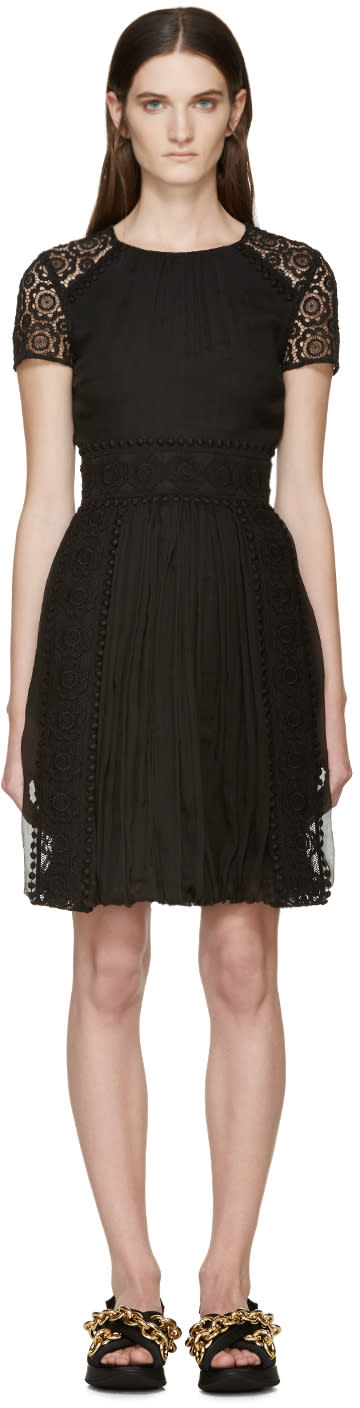 Image of Burberry Prorsum Black Silk Lace Panel Dress