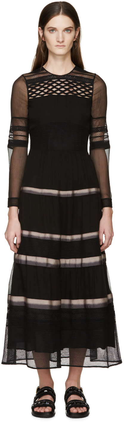 Image of Burberry Prorsum Black Silk Ribbon Striped Dress