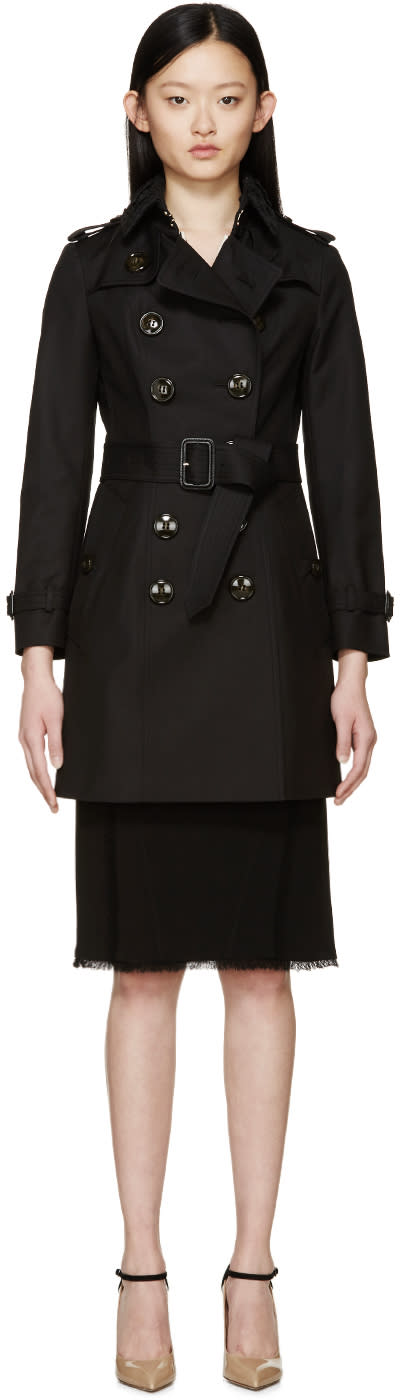 Burberry Prorsum Black Lace Collar Classic Trench Coat at SSENSE