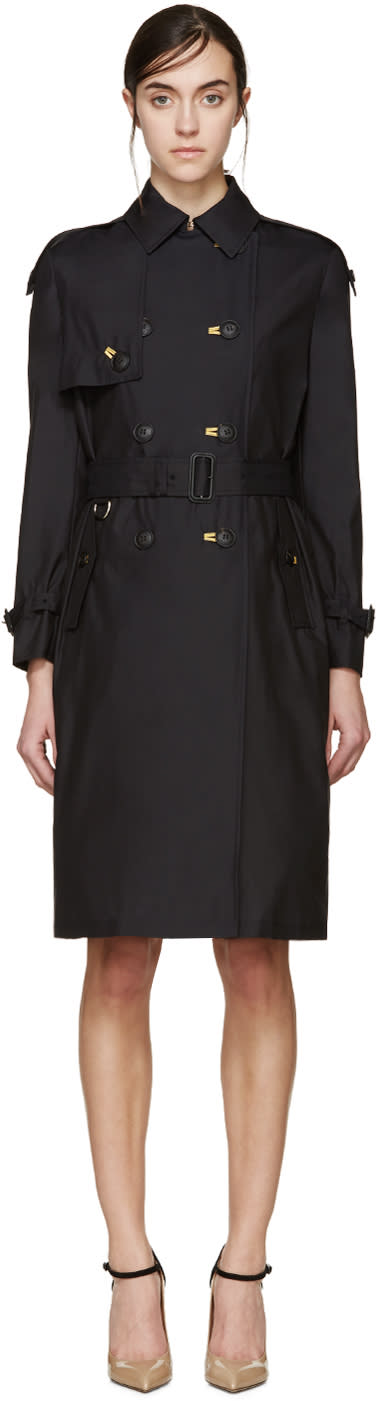 Burberry Prorsum Black Silk Poplin Trench Coat