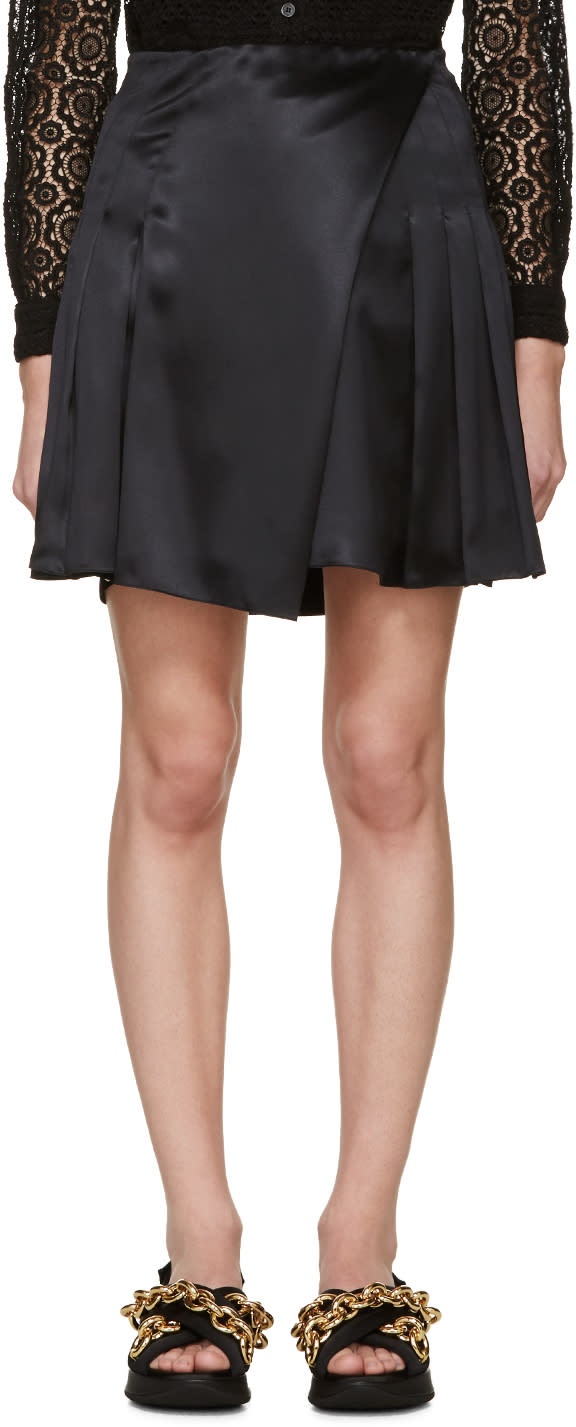 Image of Burberry Prorsum Black Silk Pleated Wrap Skirt
