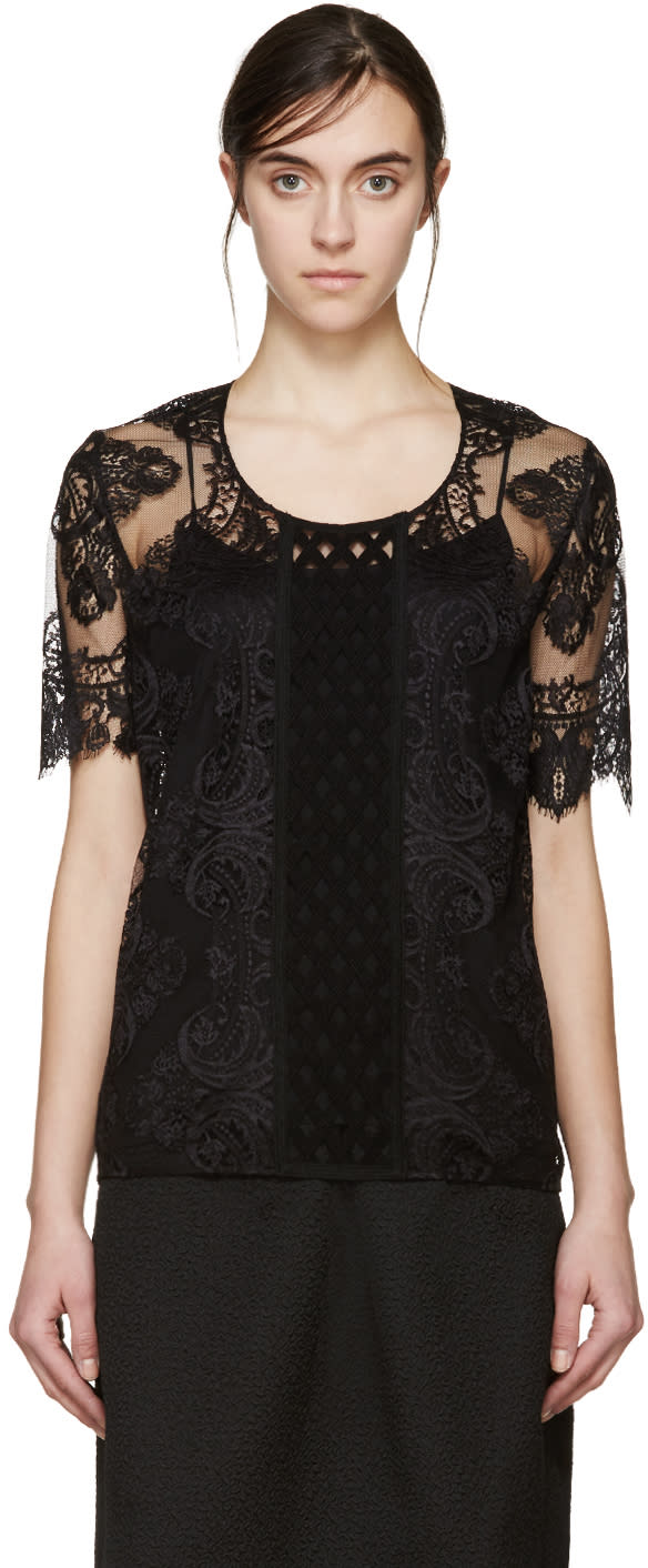 Burberry Prorsum Black Lace Blouse