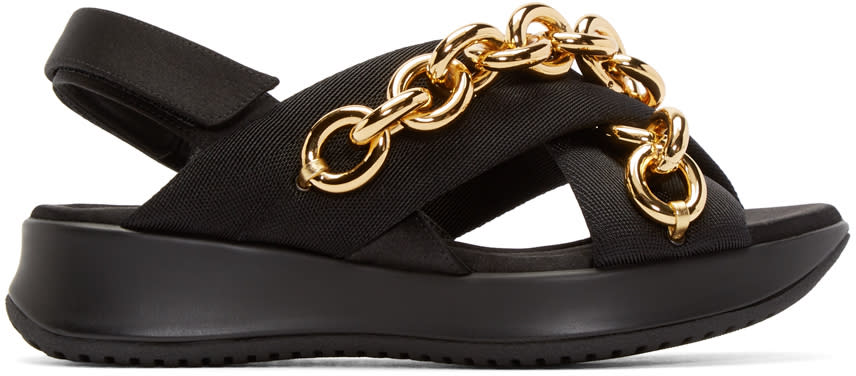 Burberry Prorsum Black and Gold Chain Actonshire Sandals at SSENSE