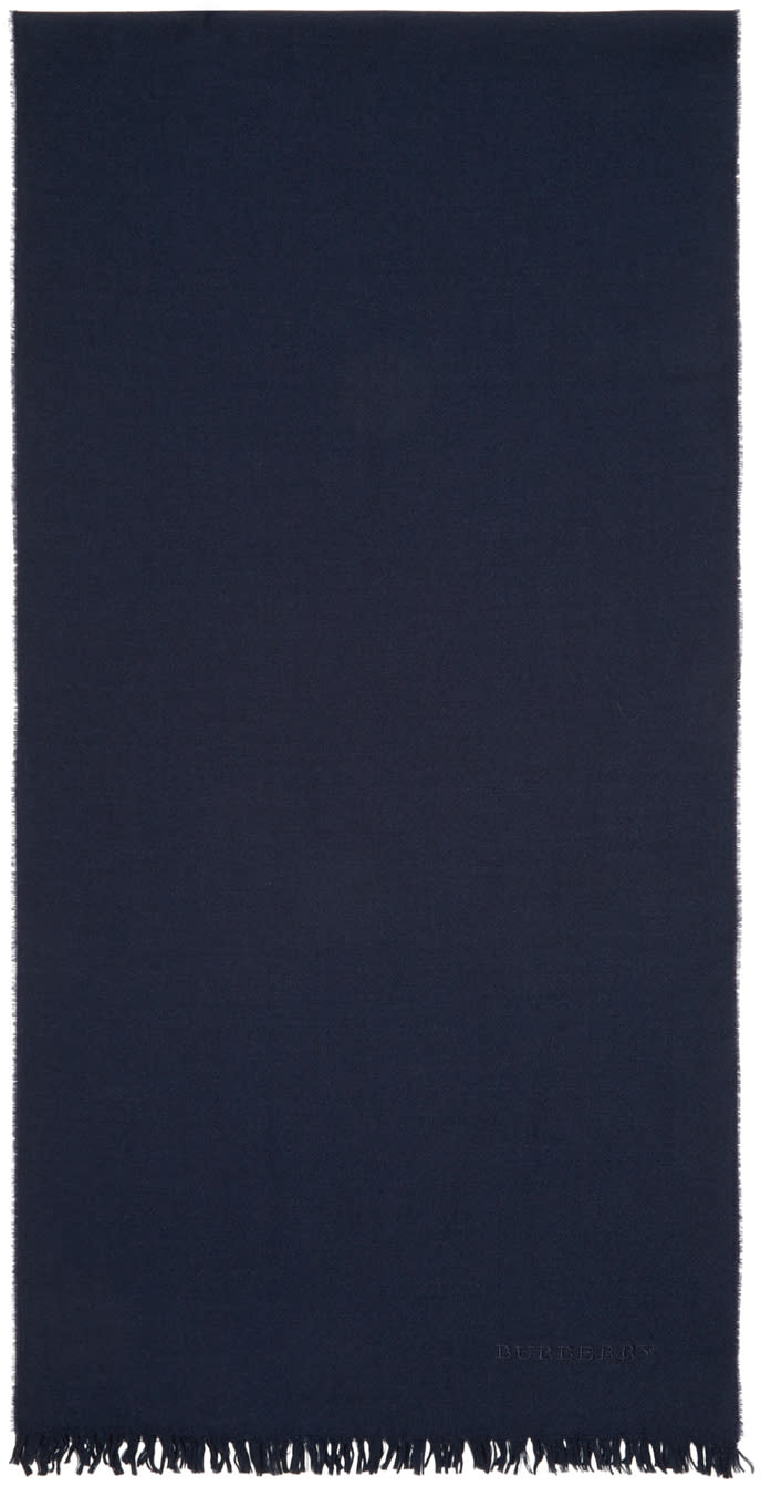 Burberry Prorsum Navy Wool and Cashmere Scarf