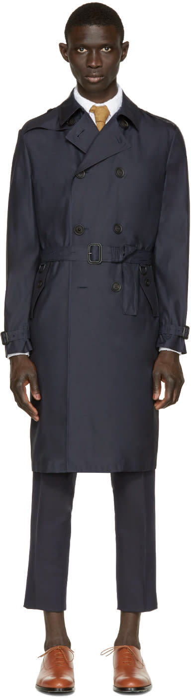 Burberry Prorsum Navy Silk-wool Trench Coat