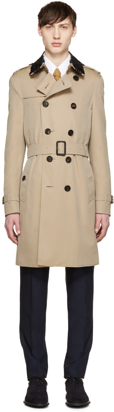 Burberry Prorsum Tan Detachable Lace Collar Trench Coat