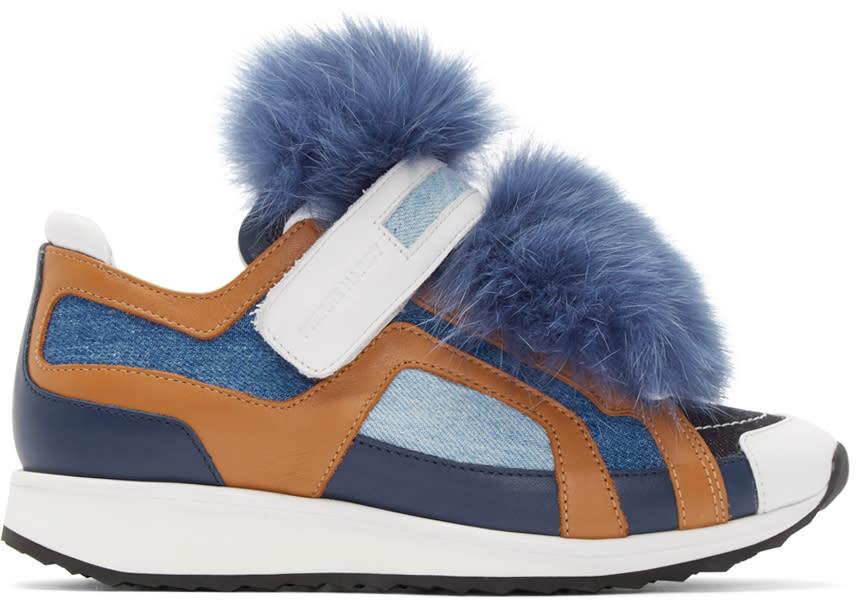 Pierre Hardy Blue Fur Accent Sneakers