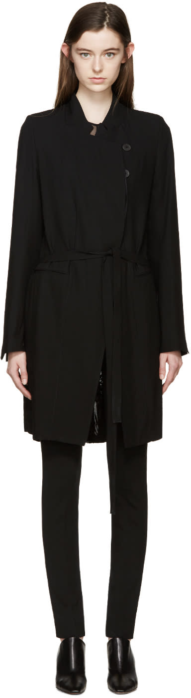Ann Demeulemeester Black Wool Pleat Back Coat