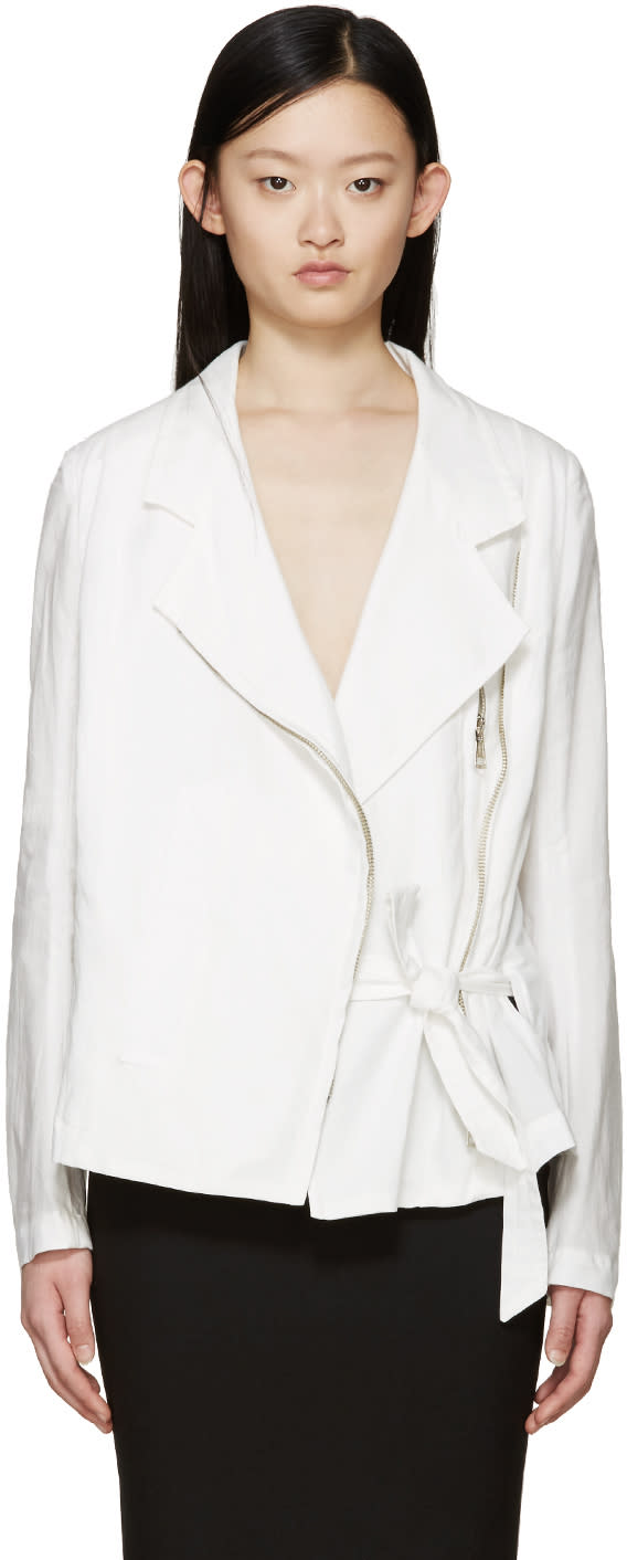 Ann Demeulemeester White Cotton Joan Biker Jacket