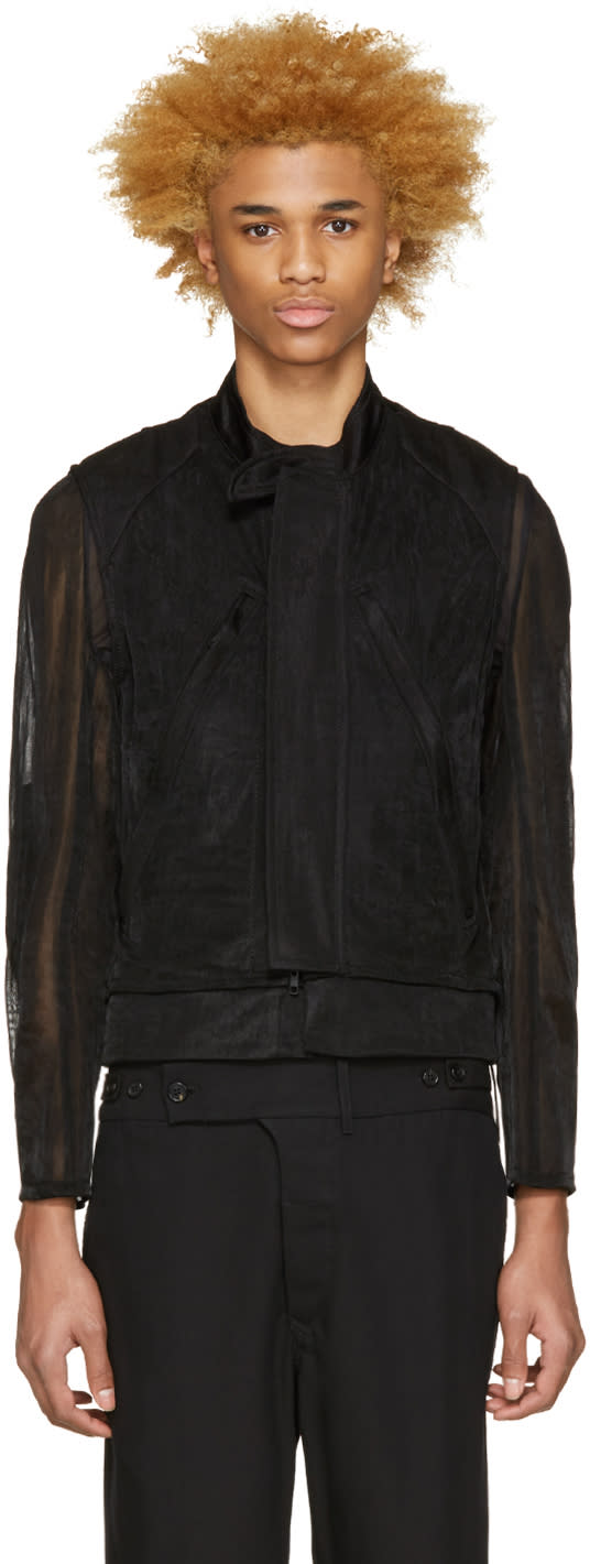 Ann Demeulemeester Black Layered Biker Jacket