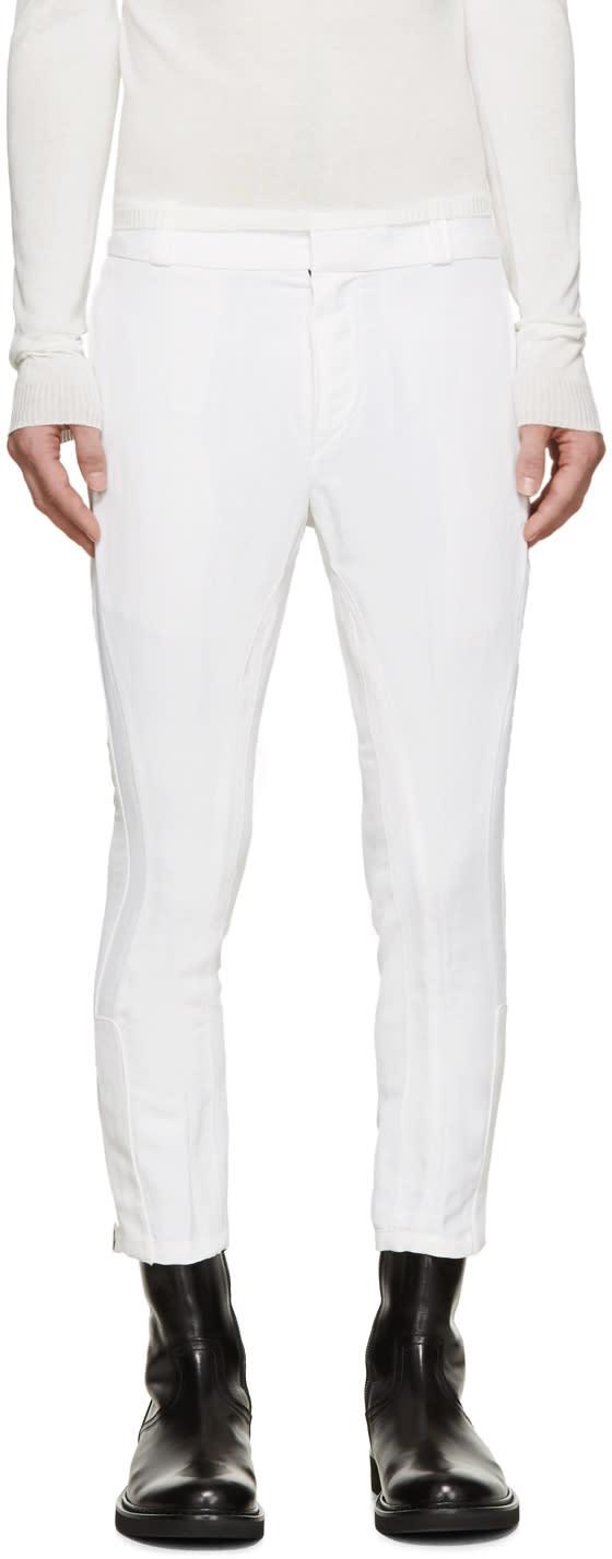 Ann Demeulemeester White Biker Keating Trousers