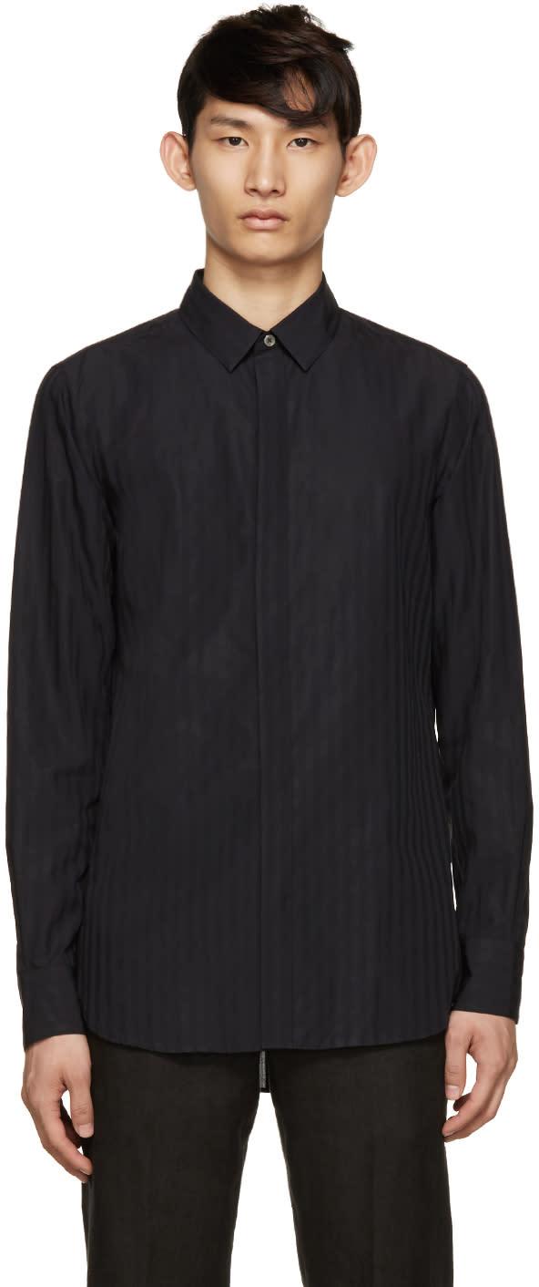 Ann Demeulemeester Black Woven Stripe Shirt