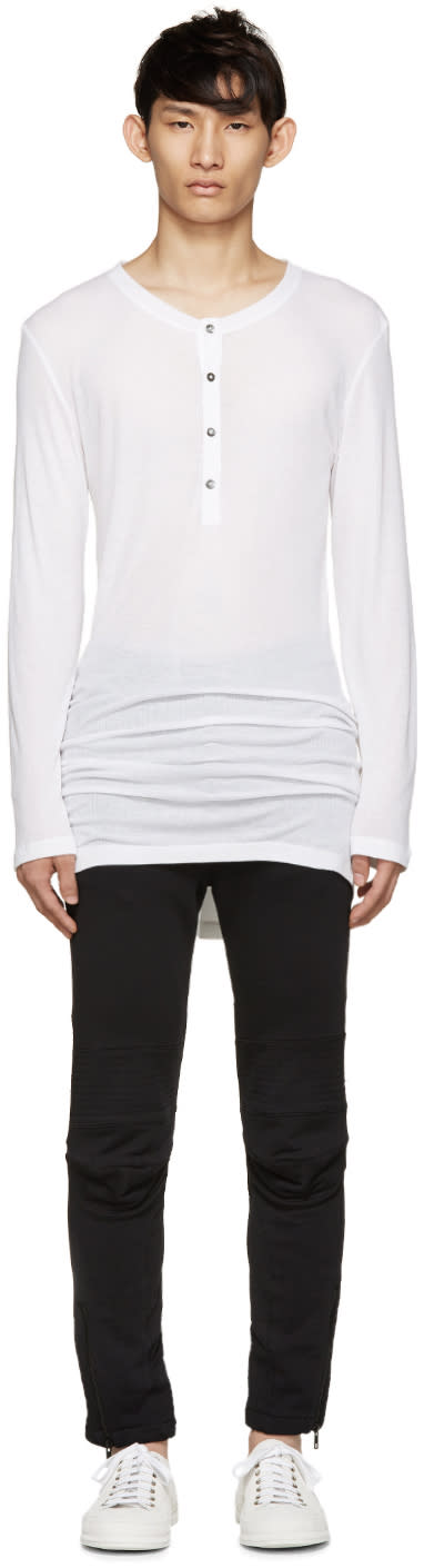 Ann Demeulemeester White Long Ribbed Henley