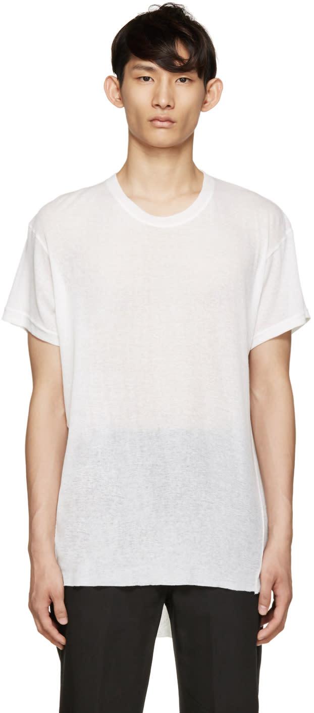 Ann Demeulemeester Ecru Ribbed T-shirt