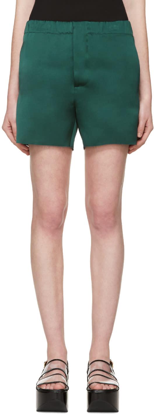 Marni Green Silk Satin Shorts