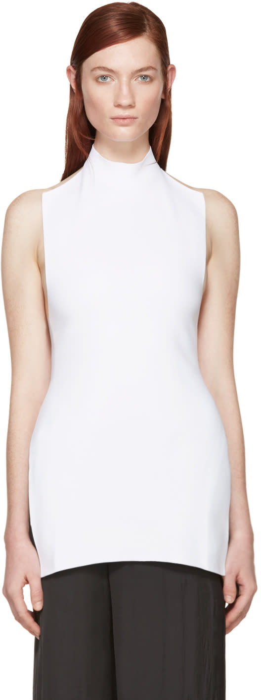 Marni White Knit Halter Turtleneck