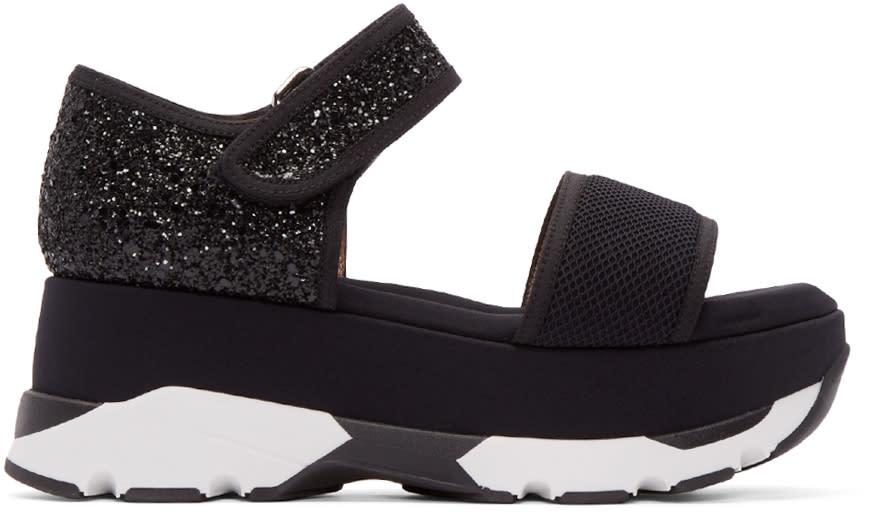 Marni Black Glittered Platform Sandals