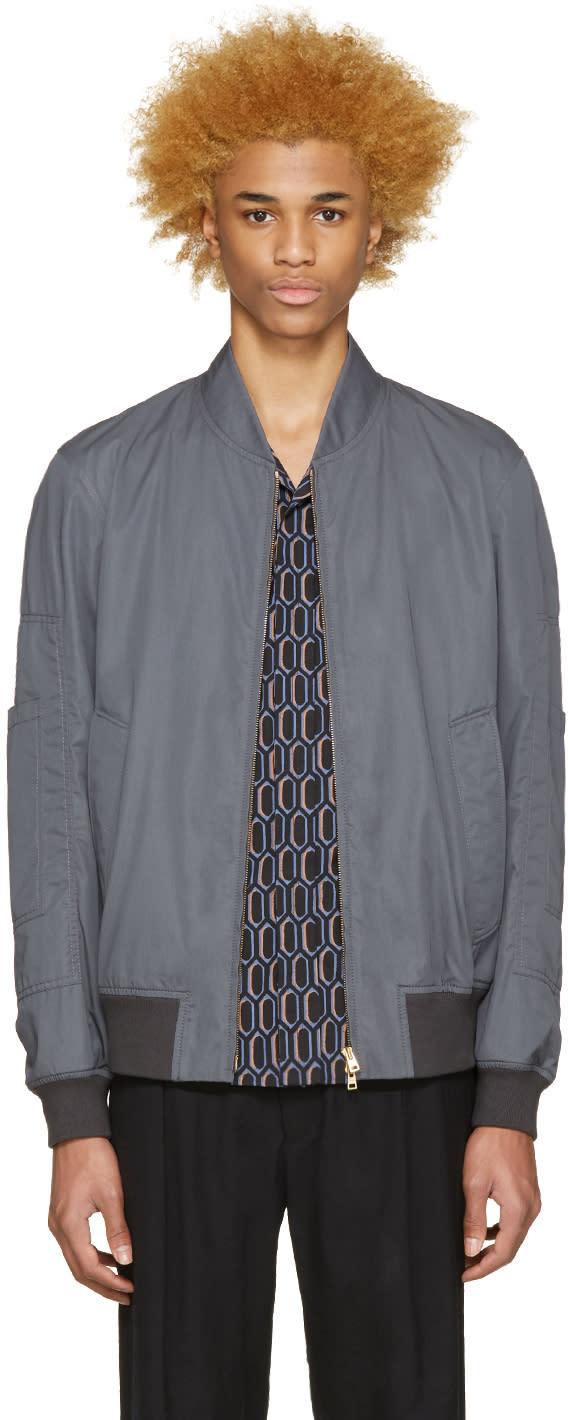 Marni Grey Cotton Bomber Jacket