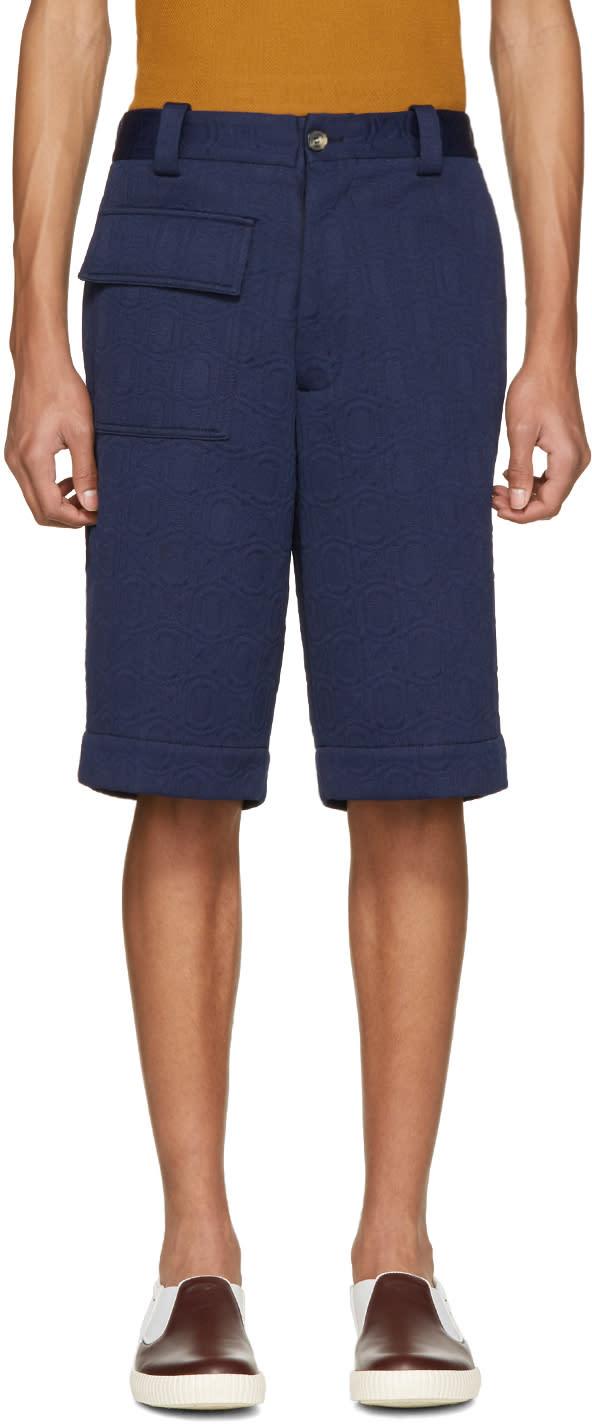 Marni Navy Cloque Shorts