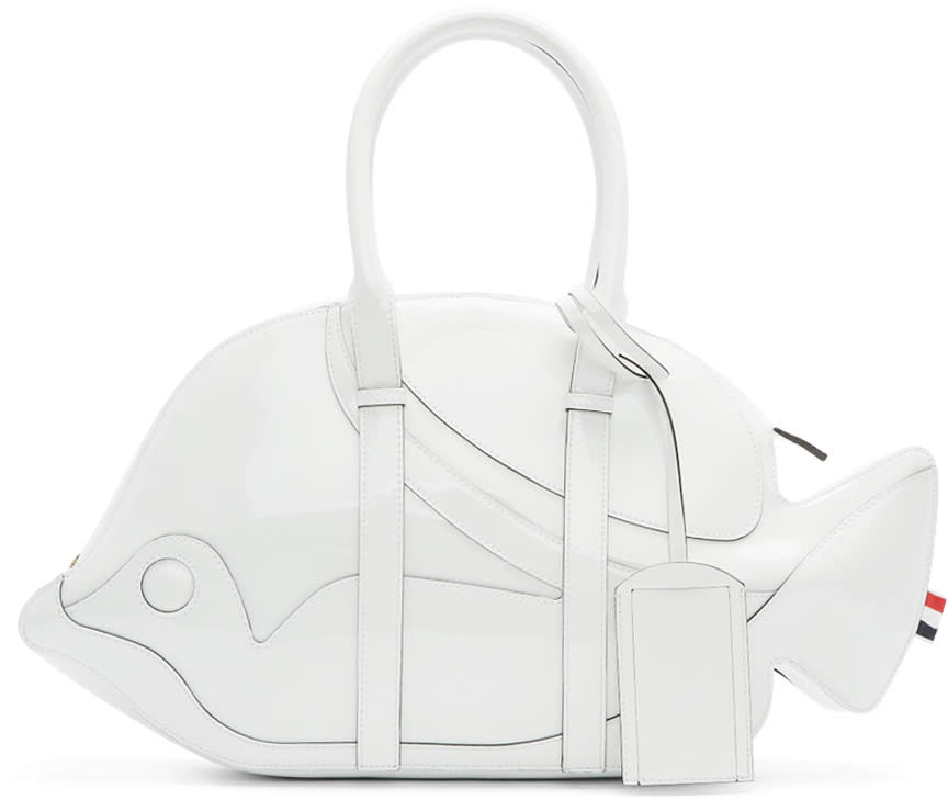 Thom Browne White Patent Leather Trigger Reef Fish Duffle Bag