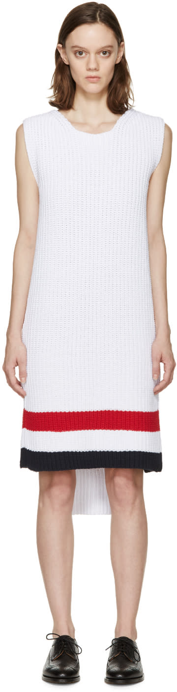Thom Browne White Knit Sweater Dress