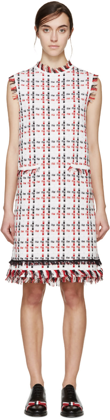 Thom Browne Tricolor Check Frayed Dress