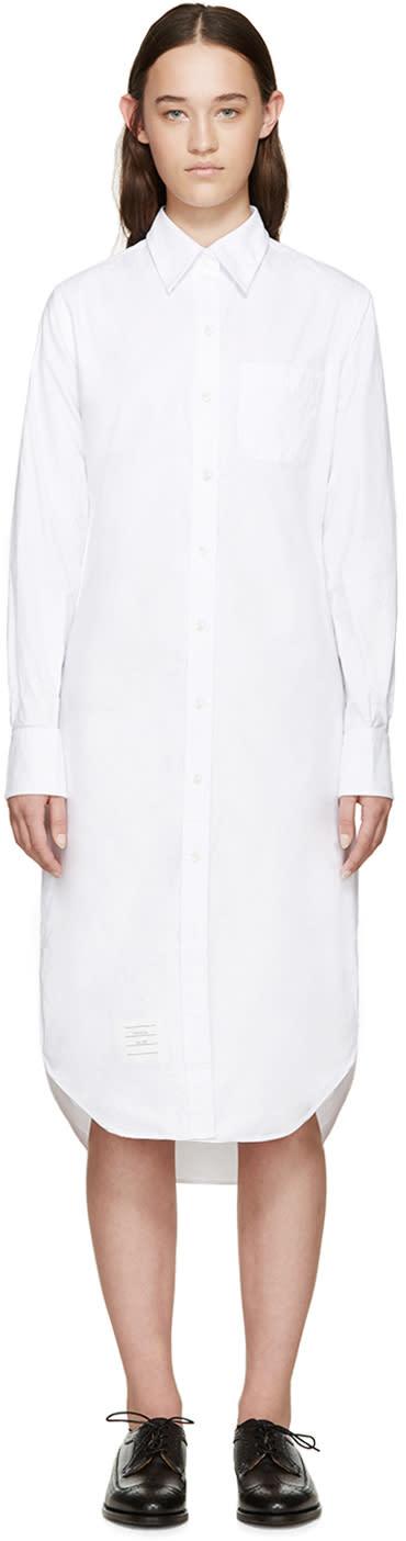 Thom Browne White Oxford Shirt Dress