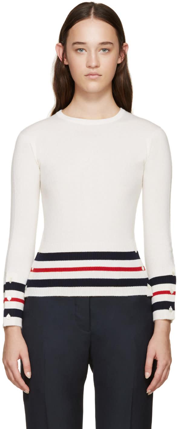 Thom Browne Tricolor Cashmere Striped Sweater