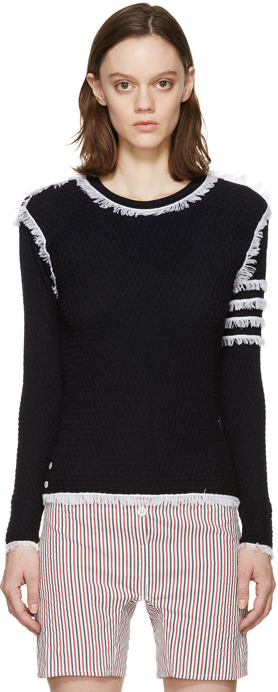 Thom Browne Navy Fringed Waffle Knit Pullover