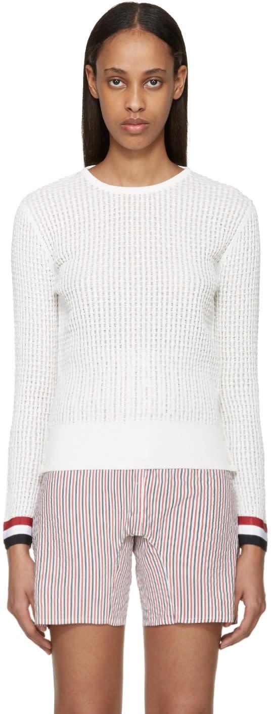 Thom Browne White Ripple Stitch Sweater