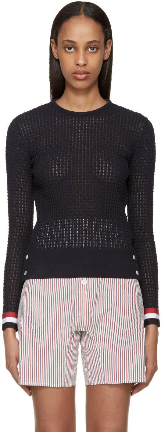 Thom Browne Navy Ripple Stitch Sweater