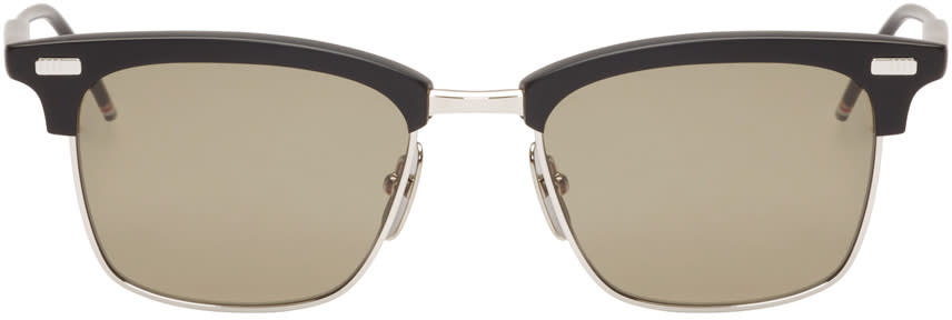 Thom Browne Black And Silver Matte Sunglasses