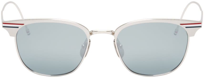 Thom Browne Silver Horn-rimmed Sunglasses