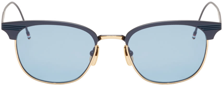 Thom Browne Navy and 18k Gold Matte Sunglasses