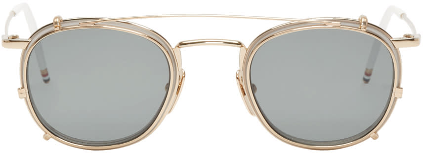 Thom Browne White and Gold Clip-on Sunglasses