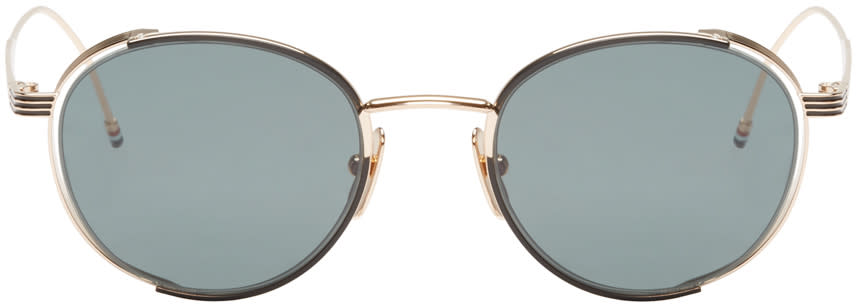 Thom Browne Gold and Green Circular Sunglasses