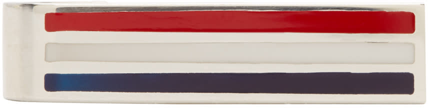 Thom Browne Tricolor Striped Short Tie Bar