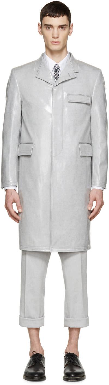 Thom Browne Grey Laminated Long Coat