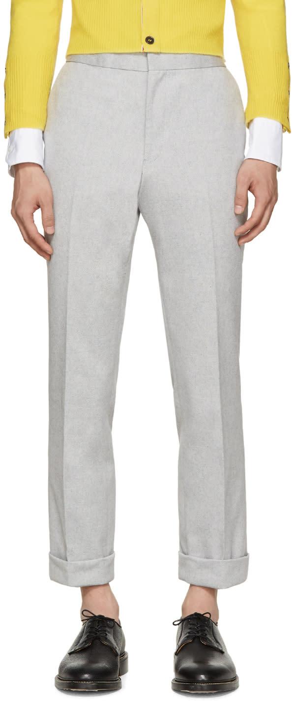 Thom Browne Grey Melange Oxford Trousers
