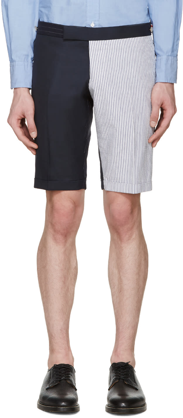 Thom Browne Navy and White Funmix Shorts